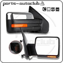 Chrome For 2004-14 Ford F-150 Power Heated Side Tow Mirrors Pair Set $105.99