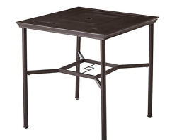 Metal Patio Dining Table Square Bar Counter Height Weatherproof Garden Furniture