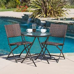 Bistro Table And Chairs Outdoor Patio Deck Porch Furniture 3 Pc Folding Set Brn