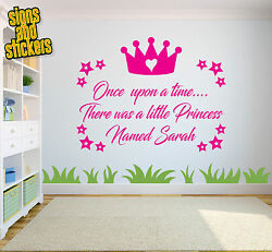 Personalised Once upon a time quote Princess wall sticker Girls bedrooms decals GBP 11.50