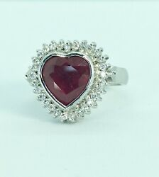 Fine 8.90ct Heart shape Ruby and Diamond Ring Solid 18K W.G
