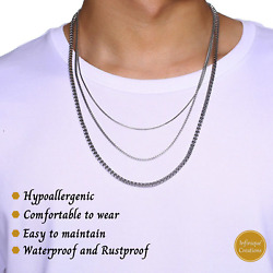 White Gold Color Stainless Steel Box Chain Necklace Men Women 1mm to 4mm 16