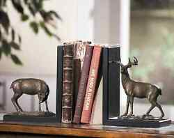 High Country Brass Deer Bookends Buck Doe Rustic Cabin Lodge Decor Book Ends