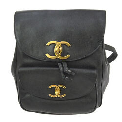 Authentic CHANEL CC Chain Backpack Bag Black Caviar Skin Leather Vintage TG00051