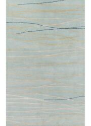 8x11 Rectangle Area Rug Contemporary 94% Wool 6% Viscose Hand-Tufted Mineral Blu
