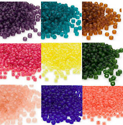 200 Matsuno 60 Glass Seed Beads Frosted Translucent & Inside Color Seed Beads  $2.25