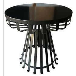 Outdoor Patio Side Table Black Metal Wrought Iron Deck Furniture Modern Stand