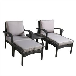 Outdoor Conversation Set Patio Furniture Grey Cushions 5 Pc Chair Ottoman Table