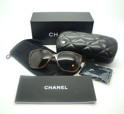 CHANEL Brown Iconic Tweed 5237 Butterfly Sunglasses NEW w Box & Case $515