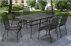 Wrought Iron Patio Dining Set Furniture Chairs Table Outdoors 7 Pieces For 6 New