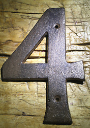 Rustic BROWN Cast Iron Metal House Numbers Street Address 6 1 4 INCH Phone ##x27;s 4 $7.99