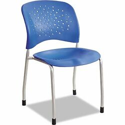 Office Guest Chairs Silver Breathable Perforated Steel Straight Legs Set Of 2