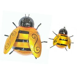 Fountasia Set of 2 Bumble Bee Garden Wall Art Decoration Outdoor Fence Wall Shed