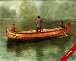 THREE MEN LAKE FISHING IN A CANOE 1800'S OIL PAINTING ART PRINT ON REAL CANVAS $13.99
