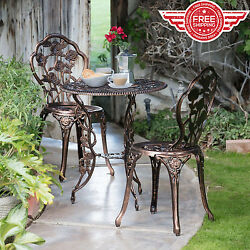 Wrought Iron Patio Set Bistro Table And Chairs Garden Patio Furniture 3 Pieces