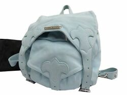 Authentic Chrome Hearts Leather Back pack Bag Light blue 0142