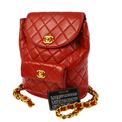 Authentic CHANEL Quilted CC Logos Chain Backpack Bag Red Leather VTG BA00078