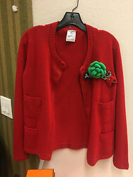AUTHENTIC rare CHANEL red cashmere cardigan embellished with brooches and pins