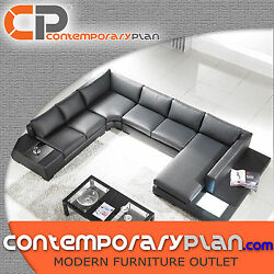 Contemporary Black Leather Sectional Sofa with Built in Light and Table Modern