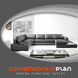 Modern Black Italian Leather Sectional Sofa w Built in Light and Table Modern