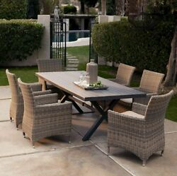 Patio Dining Room Set Wicker Furniture Clearance All Weather Table Chairs 7 Pcs