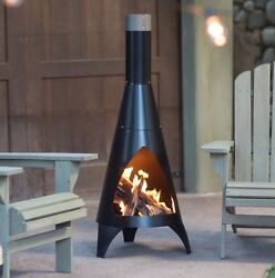 Small Chiminea Patio Fireplace Kit Fire Pit Outdoor Wood Burning Modern Steel