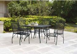 Wrought Iron Patio Dining Set Furniture Chairs Table Mesh Outdoor 5 Pieces Pool