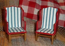 Dollhouse Red Wing Chairs - Country-Rustic-Patriotic- Matched Pair  1:12