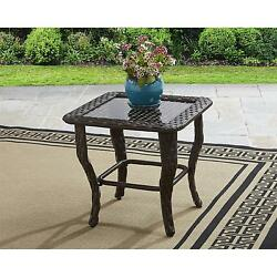 Better Homes and Gardens Colebrook Glass Top Side Table End Patio Deck Wicker