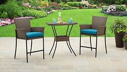Balcony Height Set Wicker Furniture Small Bistro Patio Outdoor Bar Table Chairs