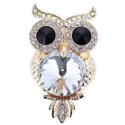Retro 70`s Style Large Wise Owl Diamante Gold Tone Brooch Pin New Design NEW