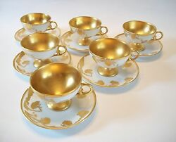 Continental Gilt Porcelain Cups & Saucers - Hand Painted - Signed - 20th Century