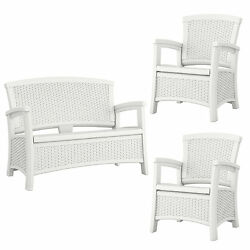 Suncast Elements Resin Wicker Design Loveseat with Storage + Club Chairs (Pair)