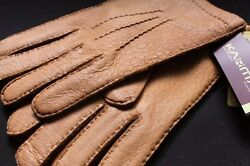 WINTER TAN Karma NWT Genuine Peccary Cashmere Lined Gloves Brown Beige 9.5 Men's
