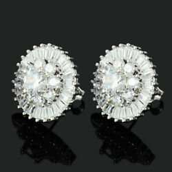 Lady 18K White Gold Plated Cubic Zirconia Round Cut White Topaz Stud Earrings