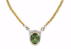 19.21 ct Green Tourmaline and Diamond Necklace in 18k Yellow Gold - HM1817AN