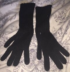 NWT ❤️ Burberry Cashmere Blend Ribbed Knitted Touch Gloves BLACK ONE SIZE  $195