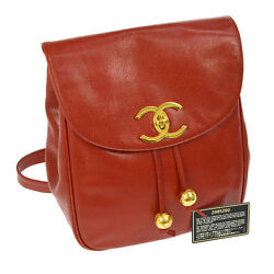 Auth CHANEL CC Logos Chain Backpack Bag Red Caviar Skin Leather Vintage R11436