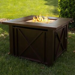Outdoor Gas Fireplace Patio Fire Pit Table Propane Heater Backyard Deck LP