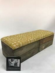 Upholstered Crate Storage Bench - Mustard Seed