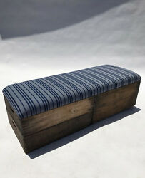 Upholstered Crate Storage Bench - Navy Stripe