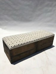 Upholstered Crate Storage Bench - Cross & Cream