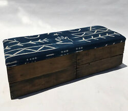 Upholstered Crate Storage Bench - Blue Hands