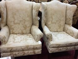 Ethan Allen Current Merchandise Winged Back Chairs - Pair - Fab. Condition!