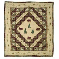 Patch Magic Queen Forest Log Cabin Quilt 85-Inch by 95-Inch
