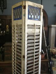 Wooden Shutters Old Vintage Antique With Leaded Stained Glass $1200.00