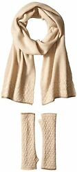 New La Fiorentina Women's Cashmere Cable Beanie Scarf & Fingerless Glove Set