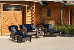 Outdoor Chaise Lounge Set Metal Furniture Patio Yard Family Chairs Navy Blue
