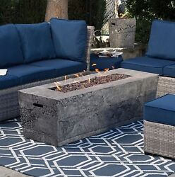 Fire Pit Table Set Outdoor Rocks Burner Patio Deck Propane Fireplace Cover Stone
