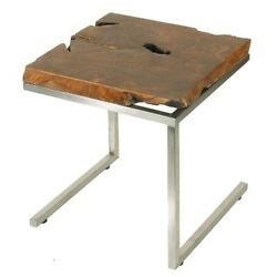 Bare Decor Iceberg Accent End Table Matte Finish Legs and Solid Teak Wood Top
